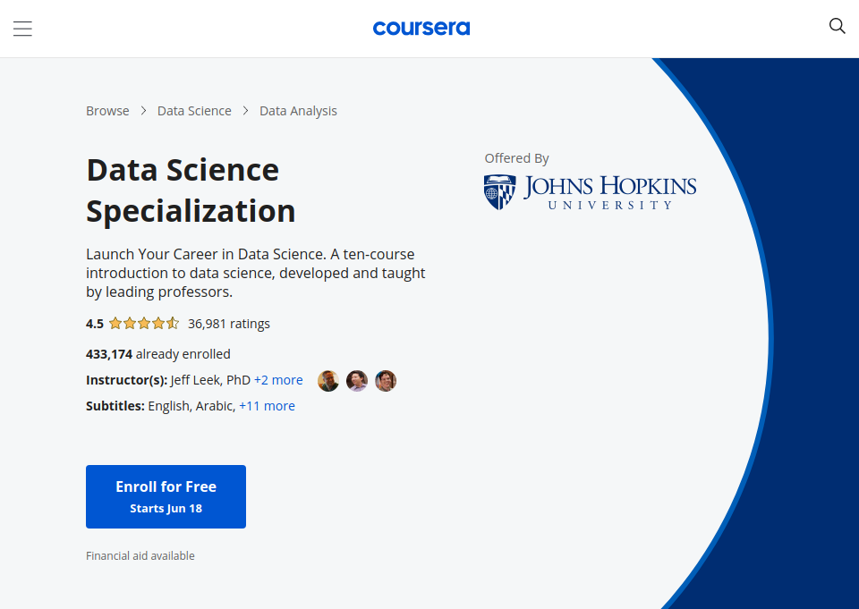 Data science specialization by johns hopkins university on coursera reviewed