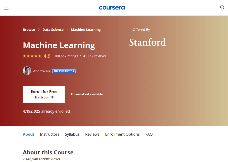 Machine learning course by stanford reviewed