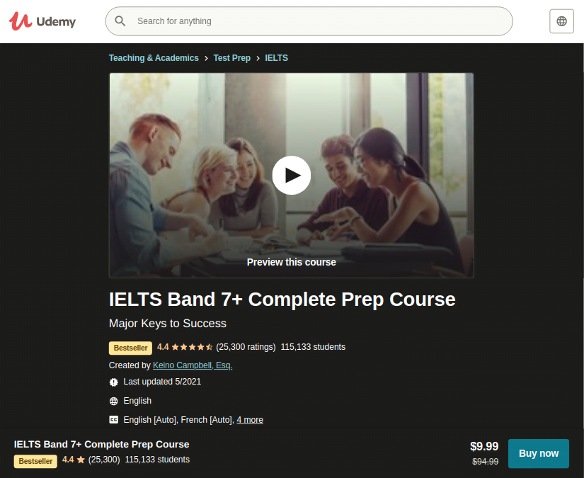 Preparation for ielts course by udemy review