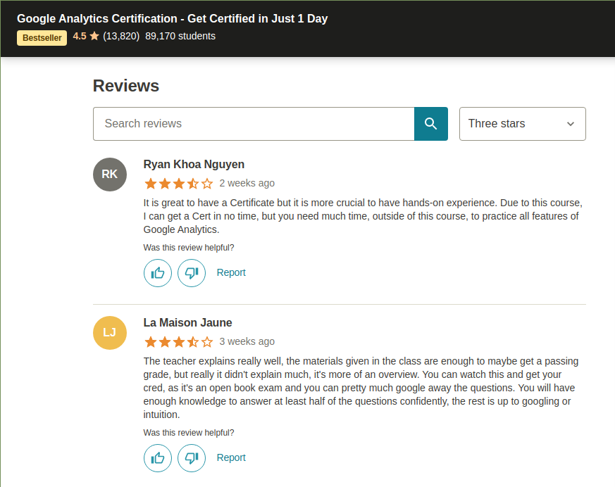 Negative reviews reveal the real face of online courses
